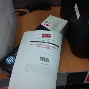 Staples coupon and toner